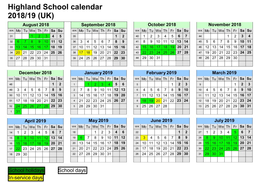 School calendar 2016/17 (UK)