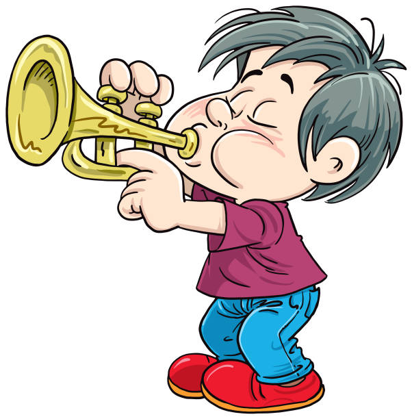 The child plays the trumpet -